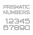 gray faceted numbers prismatic retro font vector image