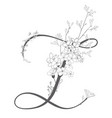 hand drawn floral z monogram and logo vector image vector image