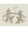 hand drawn Tower Bridge vector image vector image