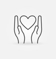 heart in hands linear icon - donation sign vector image vector image