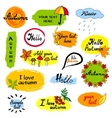 Hello autumn seasonal greeting badge template vector image