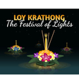 Loy Krathong greeting card with floating krathongs vector image