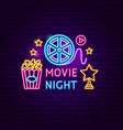 movie night neon sign vector image vector image