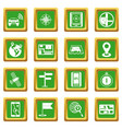 navigation icons set green vector image