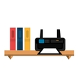 office bookcase with printer isolated icon design vector image vector image