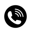 phone icon in black circle telephone symbol vector image vector image