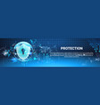 protection shield blue polygons over binary code vector image vector image