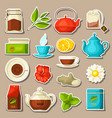 set of tea and accessories packs and kettles vector image vector image