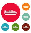 ship travel cruise icons circle set vector image vector image