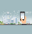 smart city on urban landscape with hand holding vector image