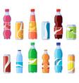 soft drink cans and bottles soda bottled drinks vector image