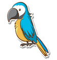 sticker design with cute parrot isolated vector image vector image