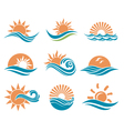 sun and sea icons vector image vector image