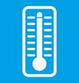 Thermometer indicates high temperature icon white