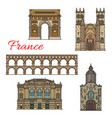 tourist sights france icons for travel design vector image