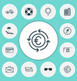 travel icons set with lifebuoy sunglasses beach vector image vector image
