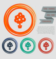 tree icon on red blue green orange buttons vector image vector image