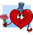 valentine heart with flowers cartoon vector image vector image