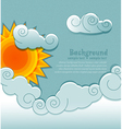 vintage background with sun and clouds vector image vector image