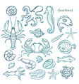 watercolor set seafood vector image