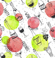 wine doodle pattern vector image