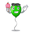 with ice cream green baloon on left corner mascot vector image