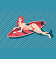 young girl with surfboard sexy woman in a vector image