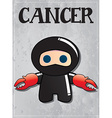 Zodiac sign Cancer with cute black ninja character vector image vector image