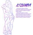 young couple dancing kizomba draw vector image