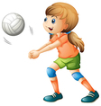 A smiling girl playing volleyball vector image vector image