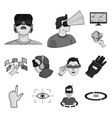 a virtual reality monochrome icons in set vector image