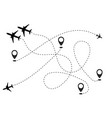 airplane line path icon of air plane flight vector image vector image