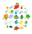 arboreal icons set isometric style vector image vector image