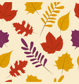 autumn season fall leaf seamless pattern vector image vector image