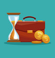 briefcase with business symbols vector image vector image