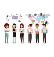 business people with social media icons vector image vector image