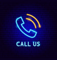 call us neon label vector image vector image