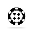 Casino poker chip black icon with card suits vector image
