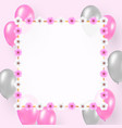 celebration design with pink silver balloons vector image vector image