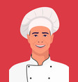 chef smiling on red background vector image vector image