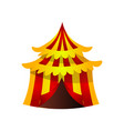 circus striped tent with red yellow color and gold vector image