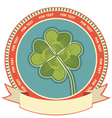 Clover label background with scroll for text vector image vector image