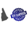 collage of halftone dotted map of new hampshire vector image vector image
