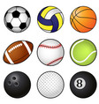 collection of nine coloured sports balls vector image