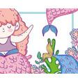 cute mermaid woman with flowers and seaweed plants vector image vector image