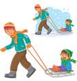 dad older brother dragging sled vector image
