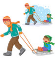 dad older brother dragging sled with vector image vector image