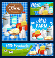 dairy farm food products milk butter and cheese vector image vector image