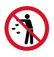 do not litter icon keep it clean prohibition sign vector image vector image