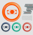 dollar icon on the red blue green orange buttons vector image